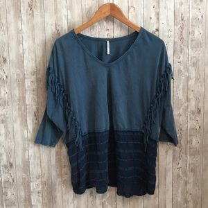 Free People blue fringe oversized tee